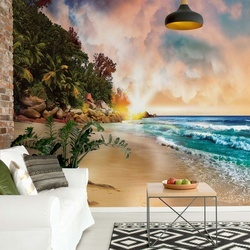 Tropical Beach Sunset Photo Wallpaper Wall Mural