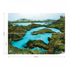 Turquoise Lakes Photo Wallpaper Wall Mural