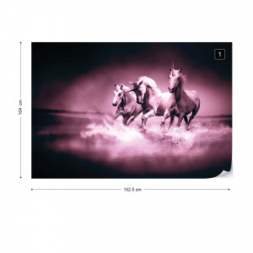 Unicorns Horses Pink Photo Wallpaper Wall Mural