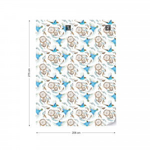 Vintage Birds And Flowers Pattern Photo Wallpaper Wall Mural