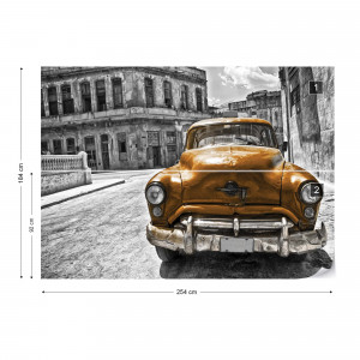 Vintage Car Cuba Havana Yellow Photo Wallpaper Wall Mural