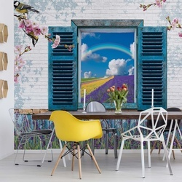 Vintage Design Window View Lavender Fields Photo Wallpaper Wall Mural