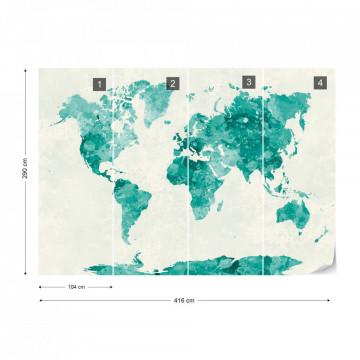 Watercolour World Map Green
