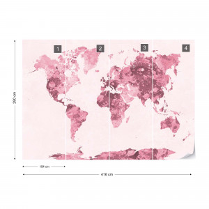 Watercolour World Map Red