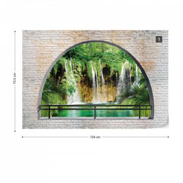 Waterfall Window View Photo Wallpaper Wall Mural