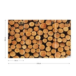 Wood Texture Logs Photo Wallpaper Wall Mural