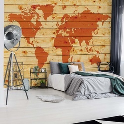 World Map Wood Planks Texture Photo Wallpaper Wall Mural