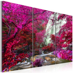 Tablou - Beautiful Waterfall: Pink Forest