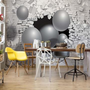 3D Balls Bursting Through Brick Wall Photo Wallpaper Wall Mural