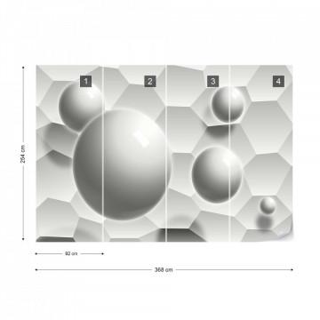 3D Balls Honeycomb Texture Grey Photo Wallpaper Wall Mural