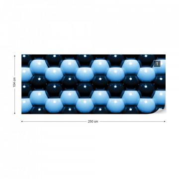 3D Blue And Black Ball Pattern Photo Wallpaper Wall Mural
