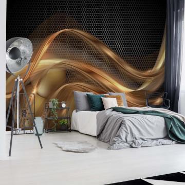3D Gold Swirl Black Modern Photo Wallpaper Wall Mural