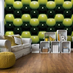 3D Green And Black Ball Pattern Photo Wallpaper Wall Mural