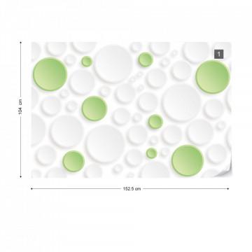 3D Green And White Circles Photo Wallpaper Wall Mural