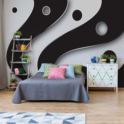 3D Layers Black And White Photo Wallpaper Wall Mural