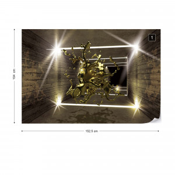 3D Molten Metal Gold Tunnel Modern Architecture Photo Wallpaper Wall Mural