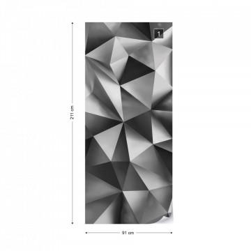 3D Polygon Texture Dark Grey Photo Wallpaper Wall Mural