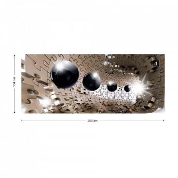 3D Puzzle Tunnel Modern Design Photo Wallpaper Wall Mural
