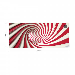 3D Swirl Tunnel Red And White Photo Wallpaper Wall Mural