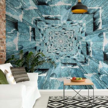 3D Tunnel Blue Photo Wallpaper Wall Mural