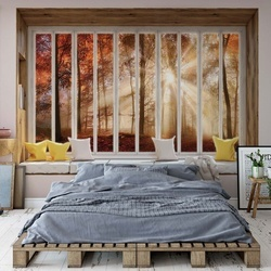 3D Window View Autumn Forest Photo Wallpaper Wall Mural
