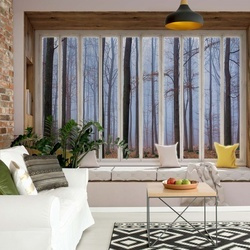 3D Window View Misty Forest Photo Wallpaper Wall Mural
