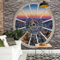 Paris Skyline Ornamental Window View Photo Wallpaper Wall Mural