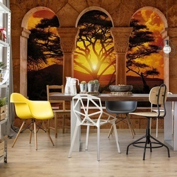 Africa Sunset Tree Silhouette View Through Stone Arches Photo Wallpaper Wall Mural