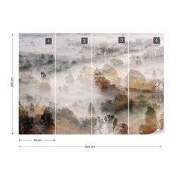 Autumn Colours In The Fog Photo Wallpaper Mural