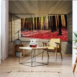 Autumn Forest 3D Modern Window View Photo Wallpaper Wall Mural