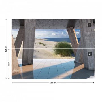 Beach 3D Modern View Concrete Photo Wallpaper Wall Mural