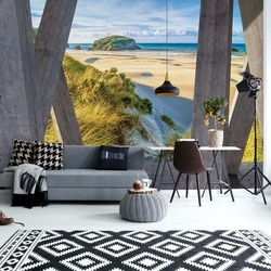 Beach Coastal 3D Modern View Concrete Photo Wallpaper Wall Mural