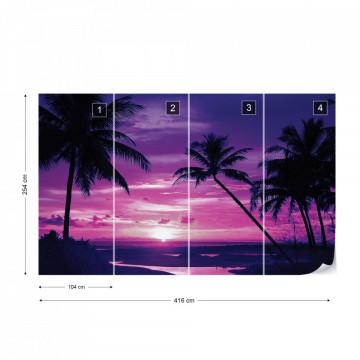 Beach Tropical Sunset Purple Palms Photo Wallpaper Wall Mural