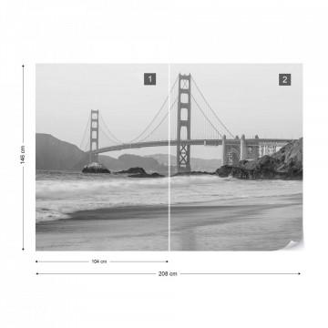 Black And White Golden Gate Bridge Photo Wallpaper Wall Mural