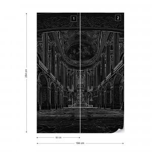 Black Line Drawing Architecture Photo Wallpaper Wall Mural
