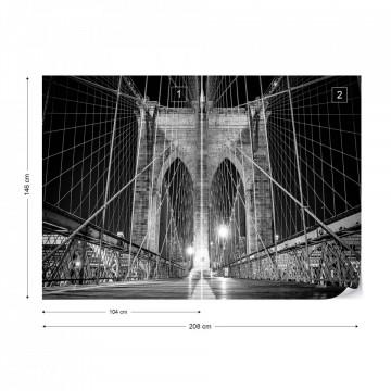 Brooklyn Bridge New York Black And White Photo Wallpaper Wall Mural