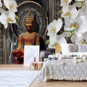 Buddha Zen Flowers Orchids Mandala Photo Wallpaper Wall Mural