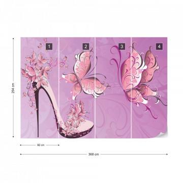 Butterflies And High Heel Shoe Pink Photo Wallpaper Wall Mural