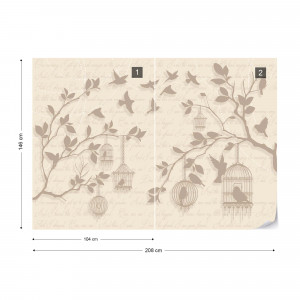 Cherry Blossom And Birds Vintage Design Yellow Photo Wallpaper Wall Mural