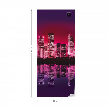 City Skyline At Sunset Purple Photo Wallpaper Wall Mural