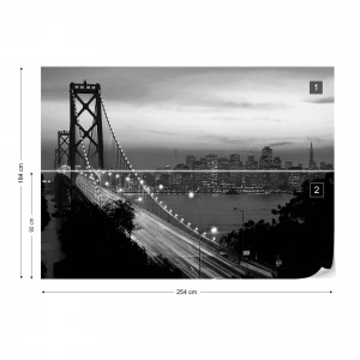 City Skyline Golden Gate Bridge Black And White Photo Wallpaper Wall Mural
