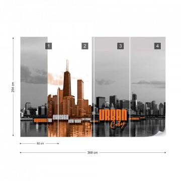 City Skyline Orange Photo Wallpaper Wall Mural