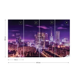 City Skyline Warsaw At Night Purple Photo Wallpaper Wall Mural