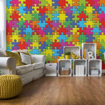 Colourful 3D Jigsaw Puzzle Photo Wallpaper Wall Mural