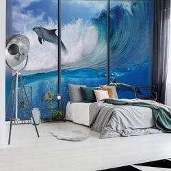 Dolphins Sea Wave Window View Photo Wallpaper Wall Mural