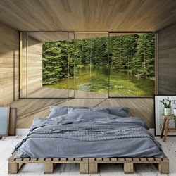 Forest Lake 3D Modern Window View Photo Wallpaper Wall Mural