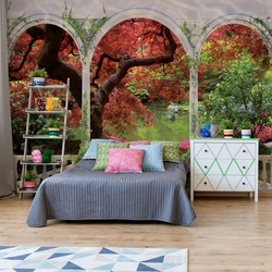 Forest View Through Arches Photo Wallpaper Wall Mural