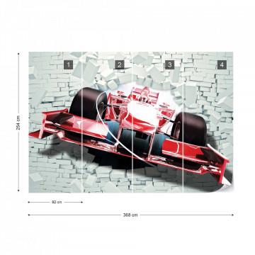 Formula 1 Racing Car Bursting Through Brick Wall 3D Illusion Photo Wallpaper Wall Mural
