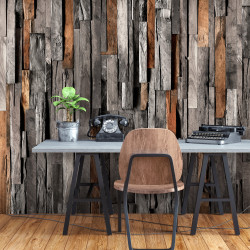 Fototapet autoadeziv - Wooden Curtain (Grey and Brown)