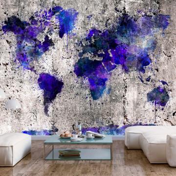 Fototapet autoadeziv - World Map: Ink Blots